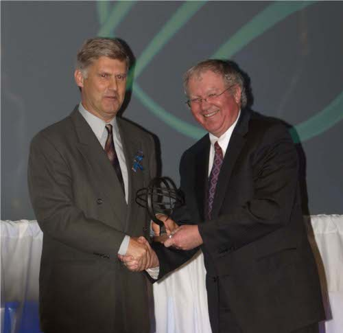 Peter Conlon accepting the award for Export Growth Through Product Development on behalf of Nautel.